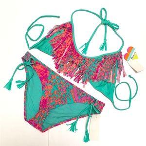 Raisins Swim - Raisins 2 Piece Fringe Triangle Bikini Set Large